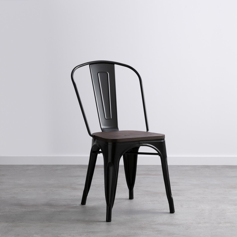 Chaise Bois Et Metal Industriel chaise industrielle rusty wood - assise en bois -