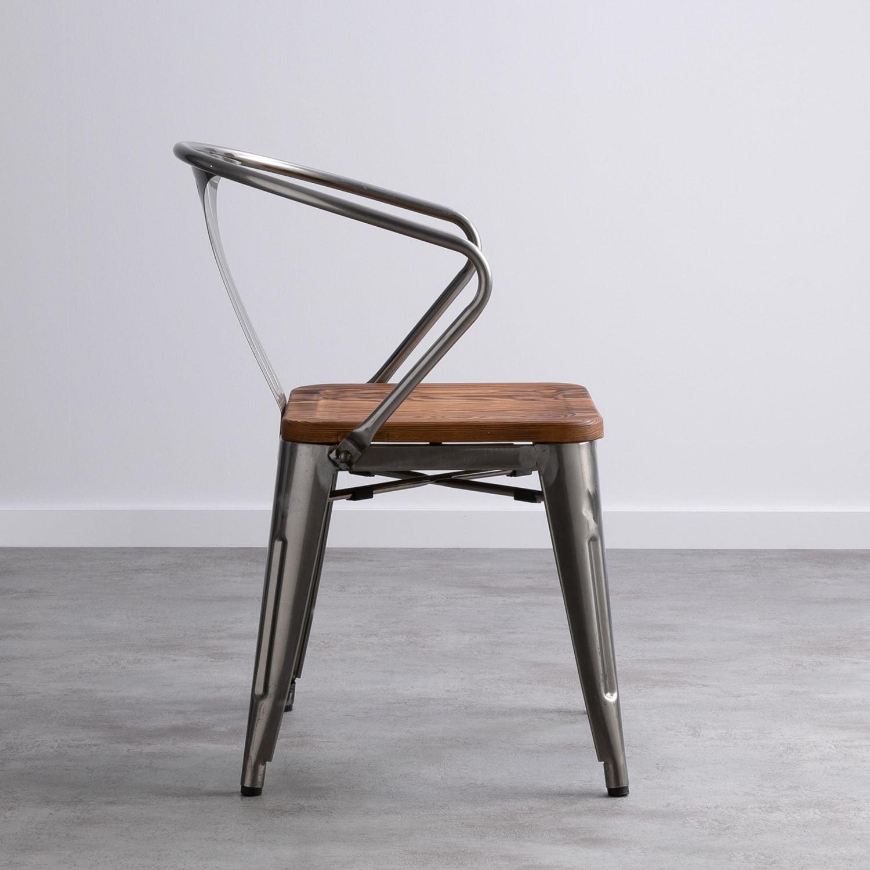 Chaise Bois Et Metal Industriel chaise en acier avec assise en bois industriel - themasie